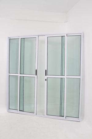 Porta Sacada 4 Folhas de Vidro e Alumínio Branco