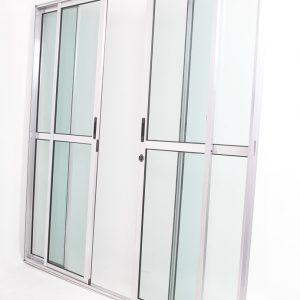 Porta Sacada 4 Folhas de Vidro e Alumínio Brilhante