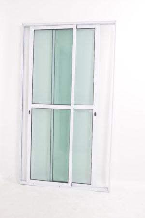 Porta Sacada 2 Folhas Móveis de Alumínio Branco e Vidro
