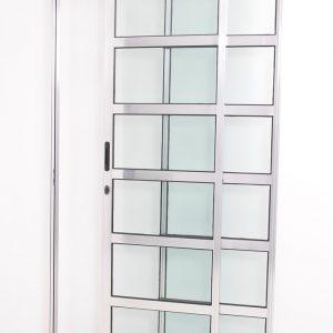 Porta Travessa 2 Folhas de Alumínio Brilhante