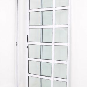 Porta Travessa em Alumínio Branco com 2 folhas