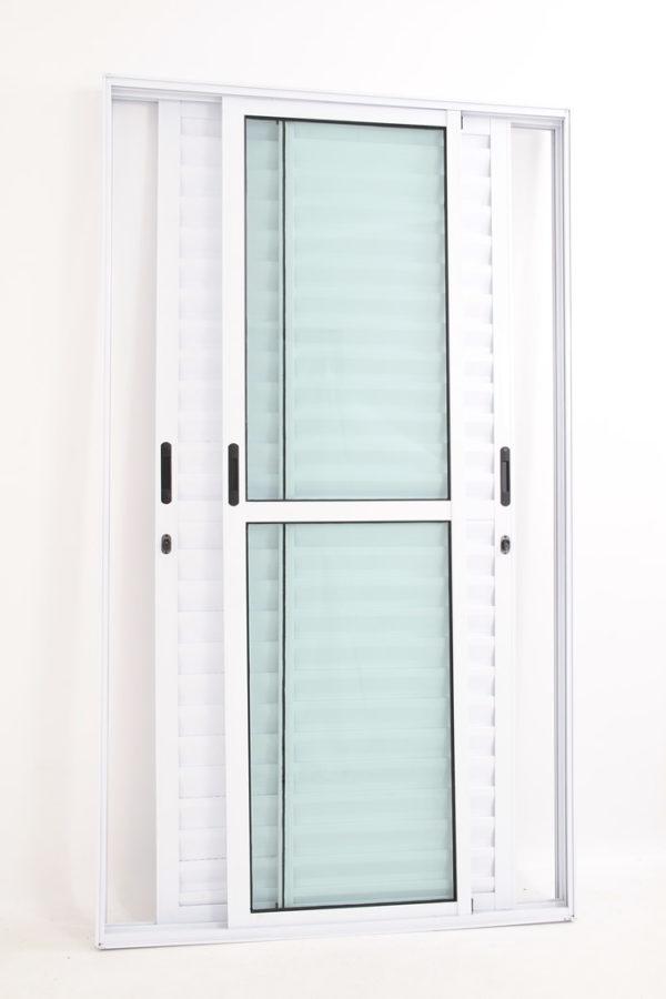 Porta Balcão 3 folhas móveis de Alumínio Branco