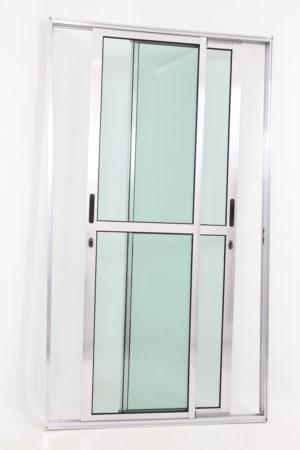 Porta Sacada 2 Folhas Móveis de Alumínio Brilhante e Vidro