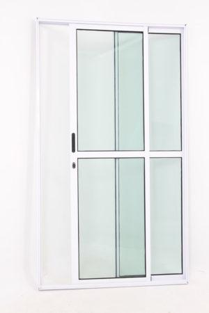 Porta Sacada 2 Folhas de Alumínio Branco e Vidro