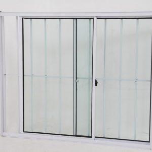 Janela de Vidro de Alumínio Brilhante de 2 folhas com Grade