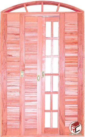 Porta Balcão Quadriculada 2 Eucalipto Correr de Madeira