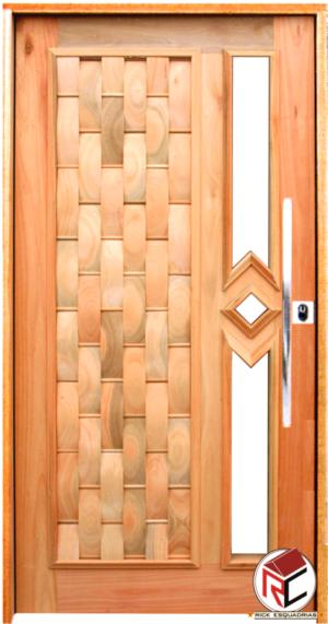 Porta Pivotante Couro/Vidro de Madeira