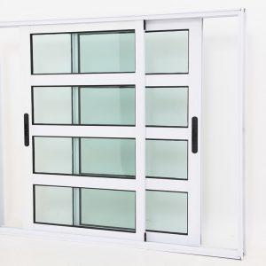Janela Travessa em Alumínio Branco com 2 folhas Móveis - Premium