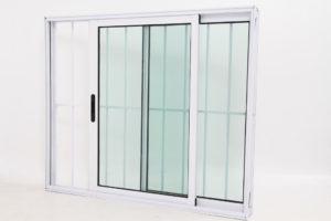 Janela de Vidro e Alumínio Branco 2 folhas com Grade