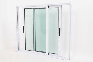 Janela de Vidro em Alumínio Branco de 2 folhas Móveis - Premium