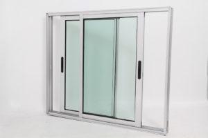 Janela de Vidro em Alumínio Brilhante de 2 folhas Móveis - Linha Premium