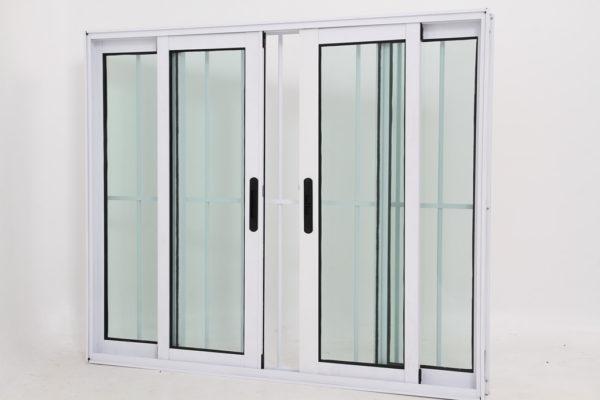 Janela de Vidro 4 folhas de Alumínio Branco com Grade - Premium