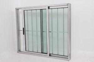 Janela de Vidro e alumínio Brilhante 2 folhas com Grade