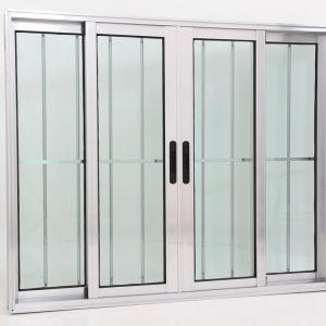 Janela de Vidro 4 folhas de Alumínio Brilhante com Grade - Premium