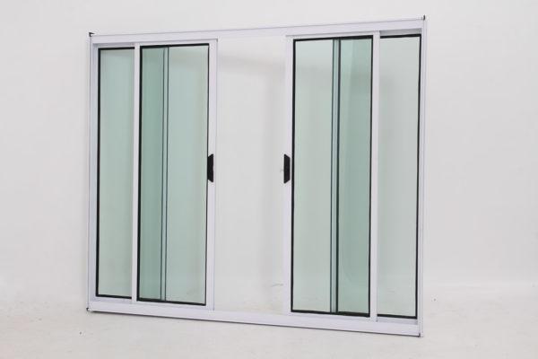 Janela de Vidro e Alumínio Branco com 4 folhas - Linha Modular