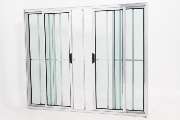 Janela de Vidro 4 folhas de Alumínio Brilhante com Grade - Modular