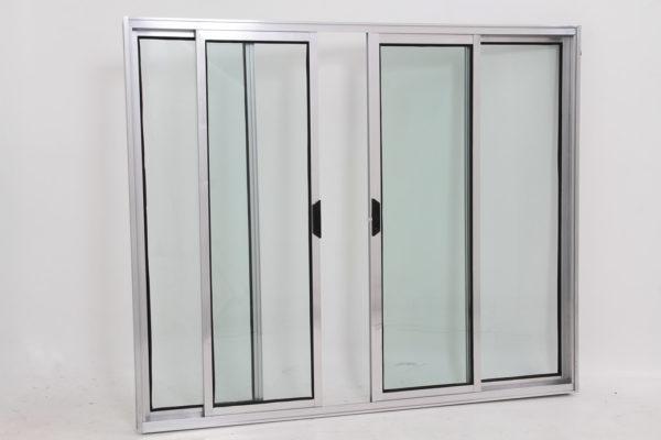 Janela de Vidro 4 folhas de Alumínio Brilhante - Modular
