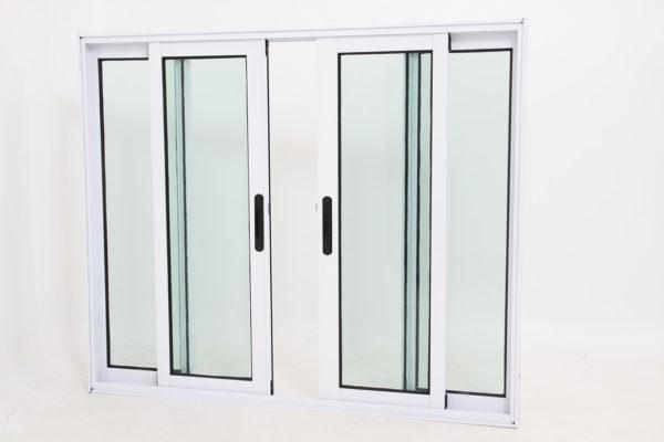 Janela de Vidro e Alumínio Branco com 4 folhas - Linha Premium