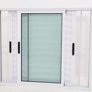 Janela Veneziana de Alumínio Branco de 3 folhas Móveis com Grade - Premium