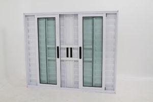 Janela Veneziana de Alumínio Branco de 6 folhas com Grade - Premiumq