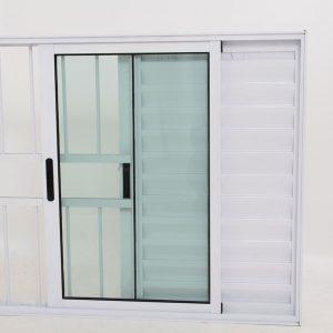 Janela Veneziana de Alumínio Branco de 3 folhas com Grade - Premium