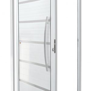 Porta Pivotante de Alumínio Branco c/ 5 Frisos