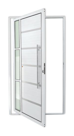 Porta Pivotante de Alumínio Lambril Branco com Vidro