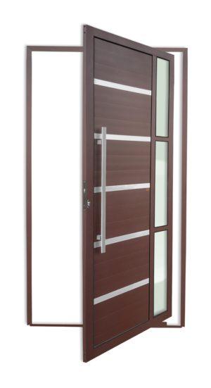 Porta Pivotante de Alumínio Lambril Corten com Vidro Temperado