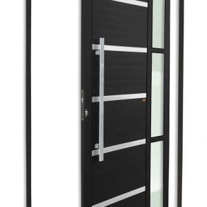 Porta Pivotante de Alumínio Lambril Preto com Vidro