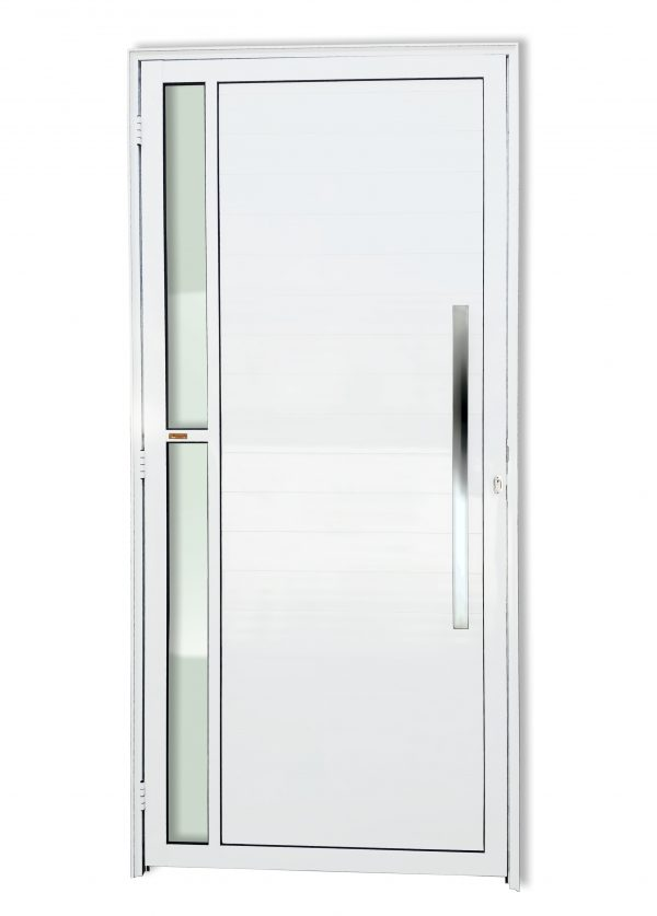 Porta Visione - Porta de Alumínio Lambril Branco com Vidro e Puxador