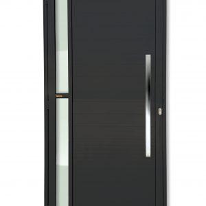 Porta Visione - Porta de Alumínio Lambril Preto com Vidro e Puxador