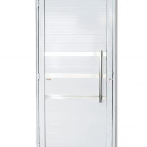 Porta Lambril em Alumínio Branco com Friso e Puxador